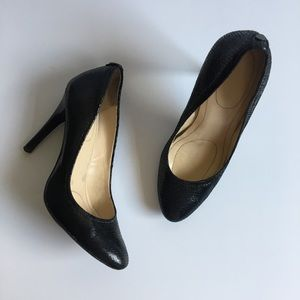 Calvin Klein Black Snake Skin Heels